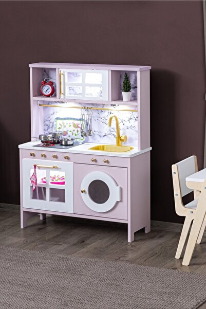 Setay Ahşap Oyuncak Mutfak Seti, Eğitici Montessori Mutfak Oyuncak Seti Çamaşır Makinalı - Pembe