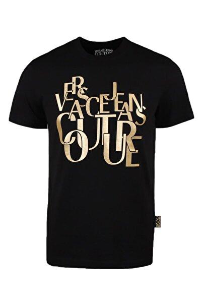 VERSACE JEANS COUTURE Versace Erkek Bisiklet Yaka Logo Baskılı Siyah T-shirt