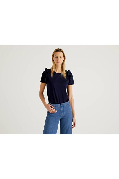 United Colors of Benetton Kadın Omzu Fırfırlı Tshirt