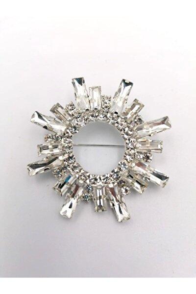 Şentürk aksesuar Kristal Taşlı Gümüş Kaplama Broş Vintage