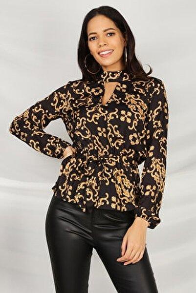 Kadın Desenli Kemerli Bluz