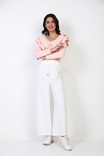 Moda Bu Kadın Ekru Beli Lastikli Bol Paça Salaş Yazlık Pantolon