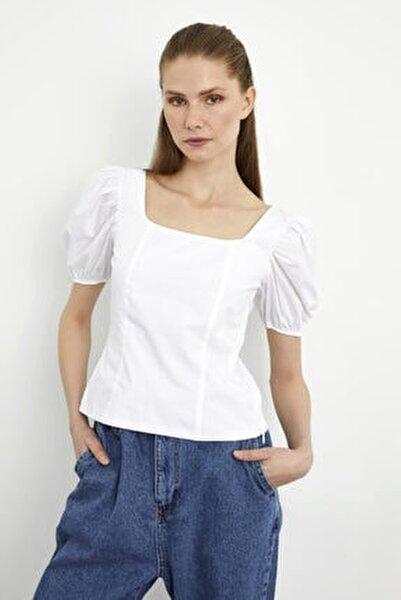 Kadın Beyaz  Balon Kol Poplin Bluz