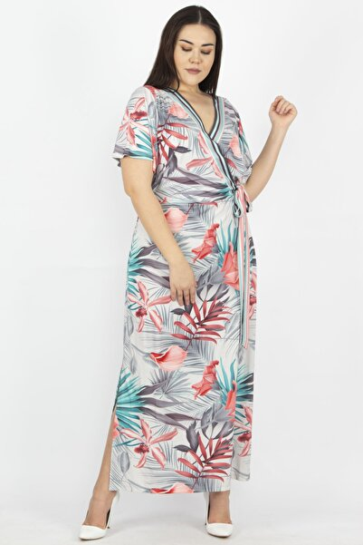 Şans Kadın Gri Anvelop Yan Bağlamalı Uzun Elbise 65N23271