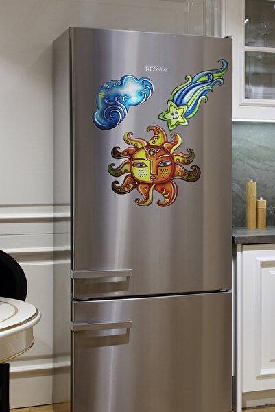 frideco Cosmos Büyük Boy Dekoratif Buzdolabı Magneti (Metalik Baskı) 3 Parça