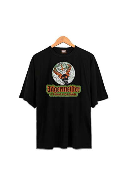 Venice Unisex Siyah Oversize Jagermeister  T-shirt