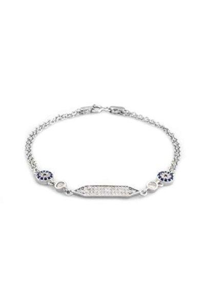 Tesbihane Kadın Zirkon Taşlı Çiçek Tasarım Silver Renk 925 Ayar Gümüş Bileklik Mavi-beyaz