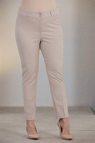 RMG Kadın Krem Büyük Beden Kumaş Pantolon