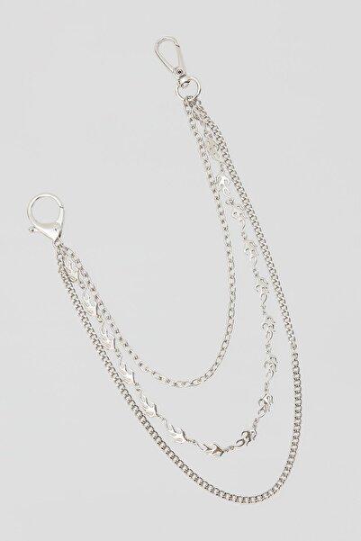 Pull & Bear Kadın Gümüş Zincir Ve Alev Detaylı Anahtarlık 04970366
