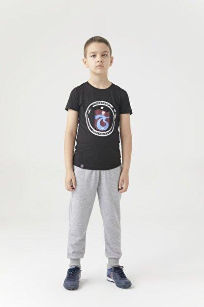 Trabzonspor Erkek Çocuk Siyah Bisiklet Yaka Logo Baskılı Tshirt