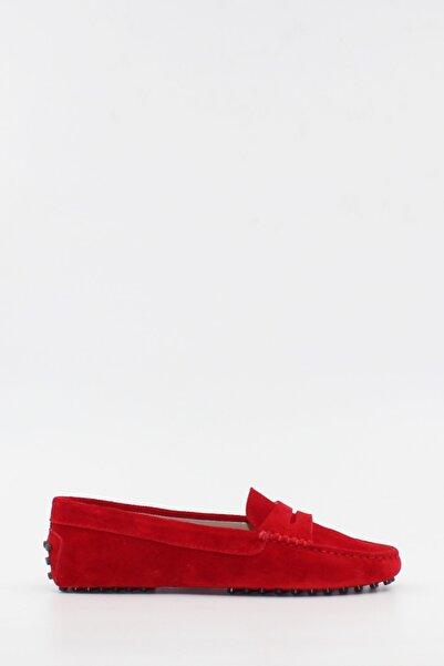 West To West Kadın Loafer Ayakkabı Hakiki Deri Kırmızı Süet