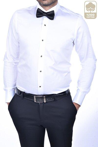 BAGGI Erkek Slim Fit Ata Yaka Gömlek Beyaz