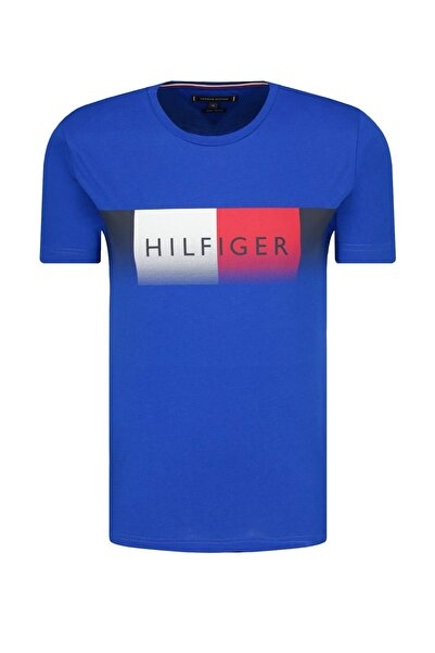 Tommy Hilfiger Mens Electric Blue Fade Logo T-shirt