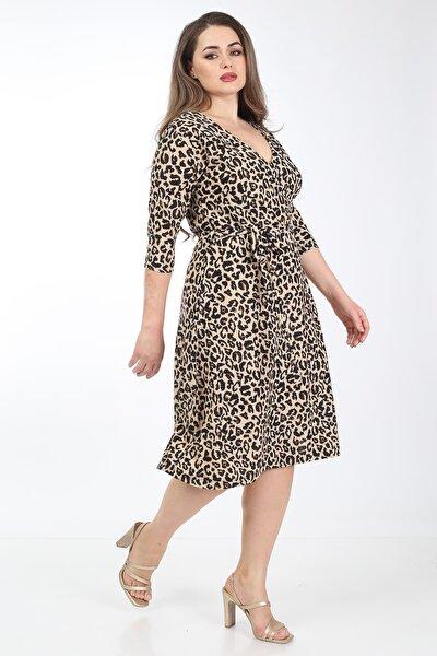 Mooi XXL Kadın Kahverengi Tiger Desenli Kruvaze Yaka Büyük Beden Elbise