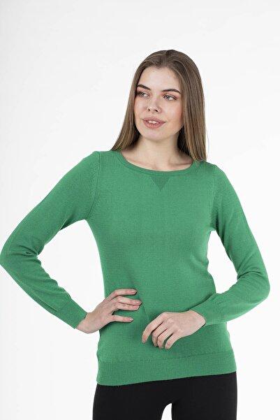 STAMINA Kadın Yeşil Dikdörtgen Yaka Kazak 22009