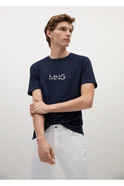 MANGO Man Organik Pamuklu Logolu Tişört