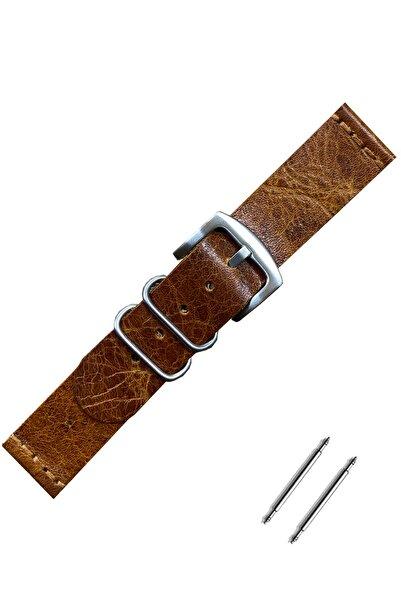 Esprit 22mm Saat Uyumlu Kahverengi Renk El Yapımı Hakiki Deri Saat Kordonu Kayışı
