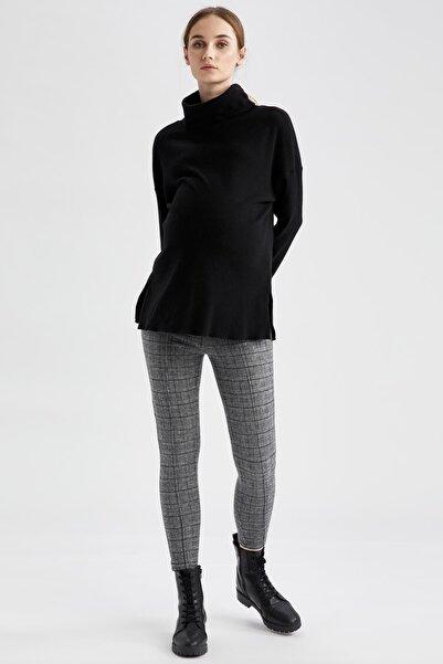 DeFacto Kadın Gri Kare Desenli Slim Fit Hamile Pantolonu