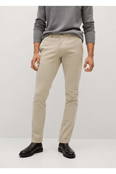 MANGO Man Erkek Bej Dar Kesimli Chino Premium Pantolon