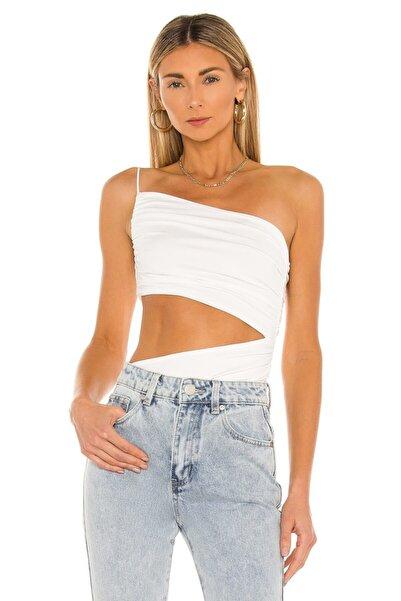 By Kul Design Kadın Beyaz Ip Askılı Ipek Jarse Bodysuit