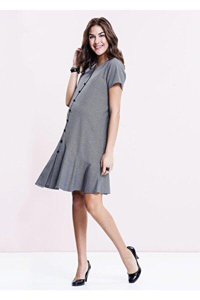 Even Fashion Hamile Giyim Önü Düğmeli Gri Kısa Hamile Elbise