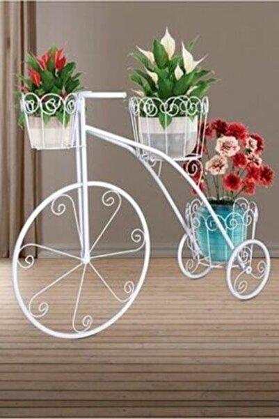BellaaStore Ferforje Metal Bisiklet Çiçeklik Saksılık Beyaz