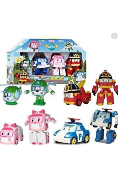 SUDEN Poli Robocar Dönüşebilen Robot Transformers Oyuncak 4 Adet Set