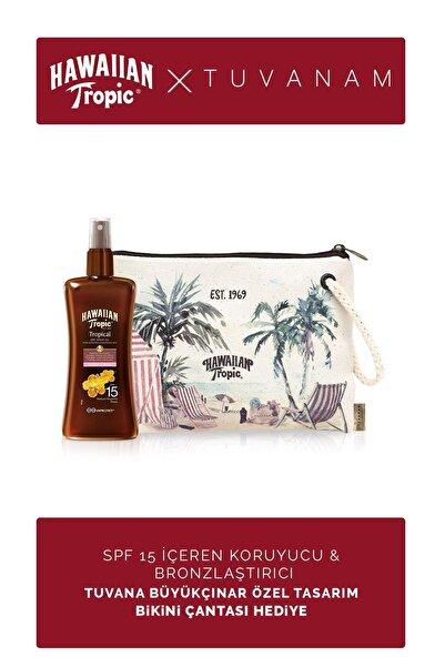 Hawaiian Tropic Spf 15 Içeren Koruyucu & Bronzlaştırıcı Yağ + Tuvanam Özel Tasarım Bikini Çantası Hediye