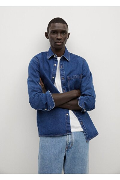 MANGO Man Koyu Yıkama Kot Gömlek Ceket