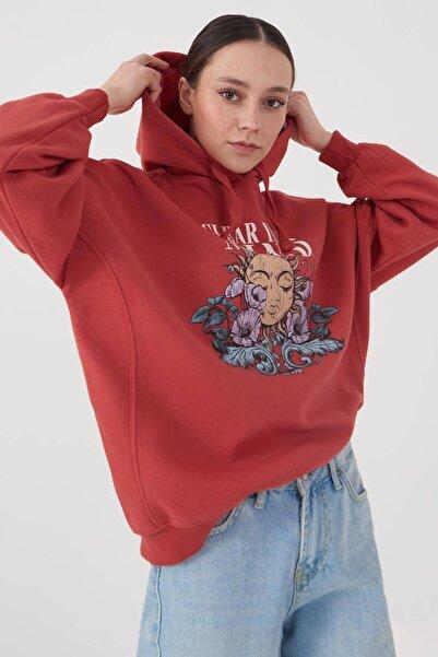 Addax Kadın Kiremit Baskılı Sweatshirt S1061 - İ5 ADX-0000022998