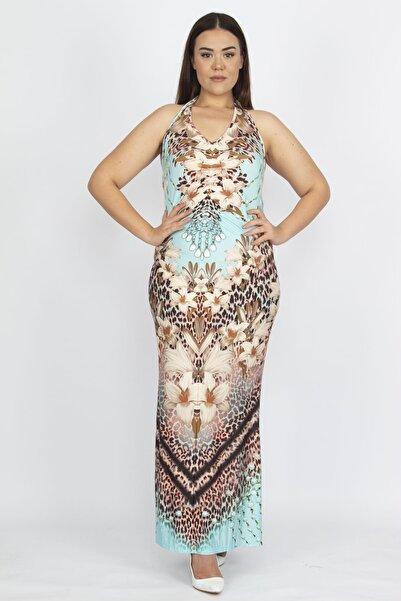 Şans Kadın Turkuaz Boyun Bağlı Elbise 65N22448