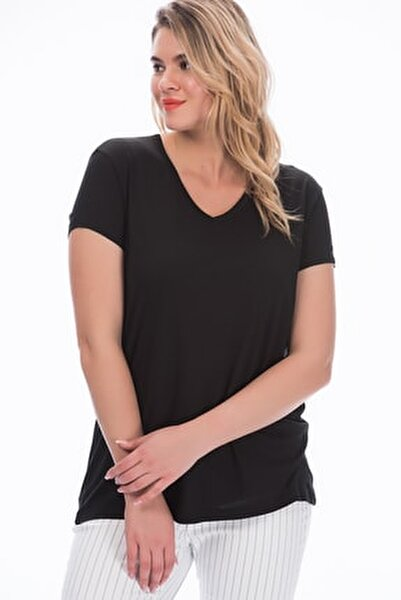 Kadın Siyah V Yakalı Viskon Bluz 65N22538