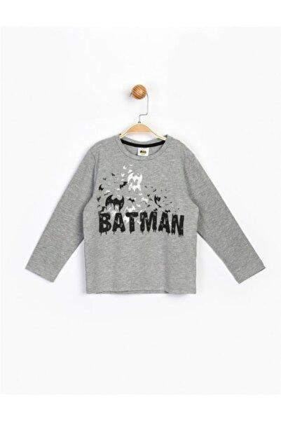 Batman Erkek Çocuk Gri Uzun Kol Tişört 17222