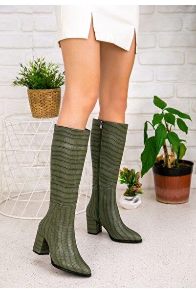 Erbilden Morena Haki Yeşil Cilt Desenli Çizme