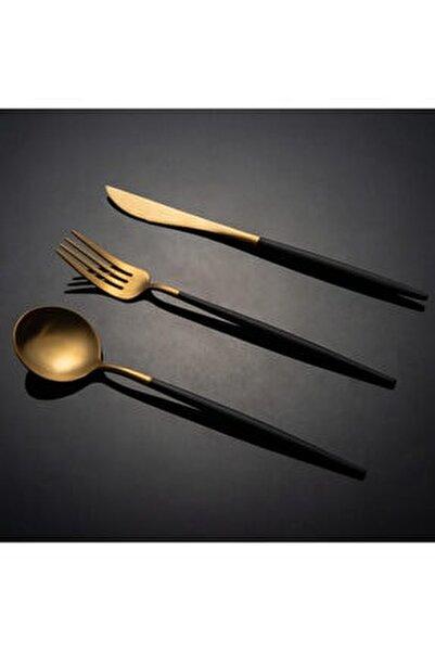 Mat Altın Siyah 30 Parça Çatal Bıçak Takımı
