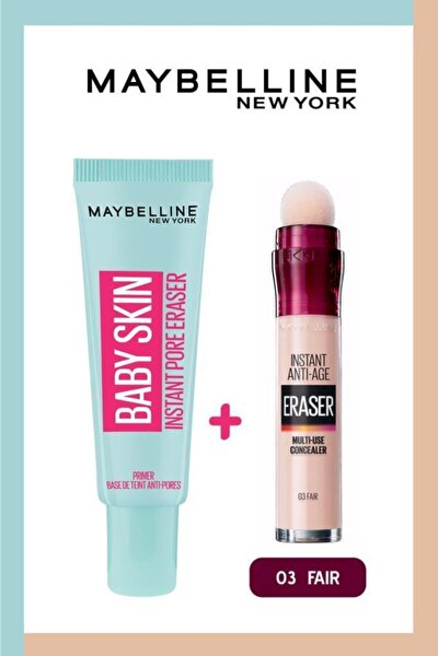 Maybelline New York Baby Skin Makyaj Bazı Ve Instant Anti Age Eraser Kapatıcı 03 Fair 36005307338662