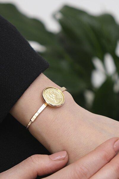 Marjin Kadın Altın Renkli Madalyon Desenli Bileklik