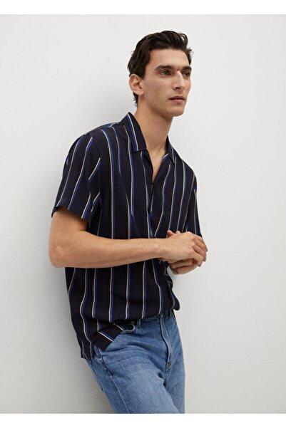 MANGO Man Çizgili Dökümlü Gömlek