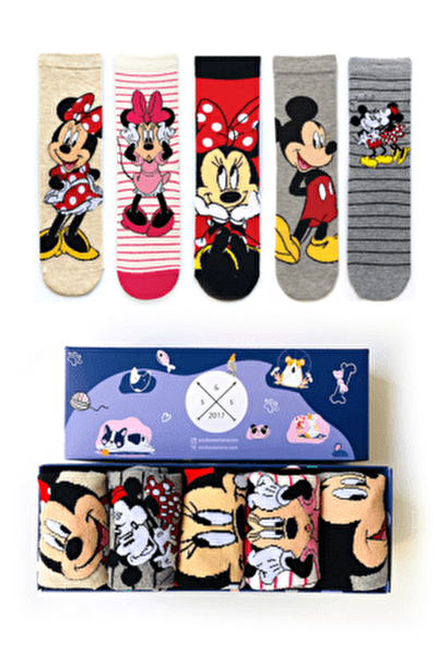 Unisex Renkli 5'li Mickey ve Minnie Mouse Çorap Kutusu