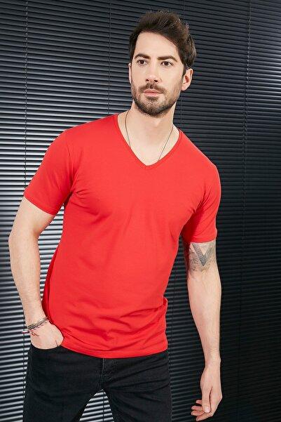 Sateen Men Erkek Kırmızı Kısa Kol V Yaka T-Shirt