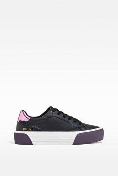 Kadın Siyah Kontrast Topuklu Spor Ayakkabı 11417760