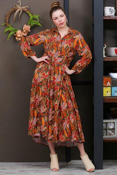 Chiccy Kadın Haki-Turuncu Yaprak Desen Gömlek Yaka Düğmeli Cepli Kloş Dokuma Elbise M10160000EL95928