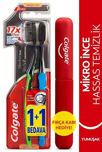 Colgate Mikro Ince Siyah Hassas Temizlik Yumuşak Diş Fırçası 1+1 + Diş Fırçası Kabı Hediye