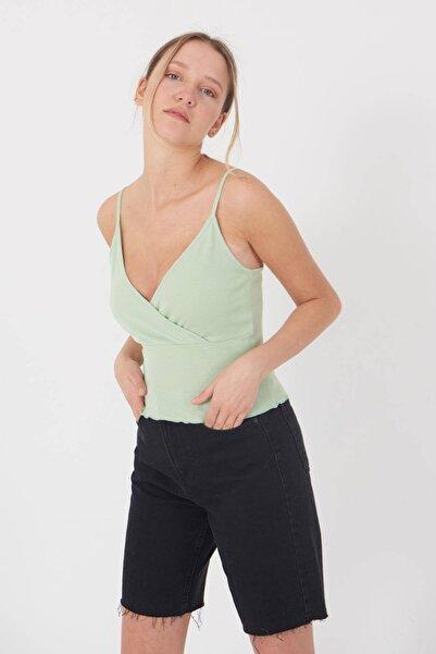Addax Kadın Açık Mint İp Askılı Kruvaze Atlet A0951 - W9 Adx-0000022359