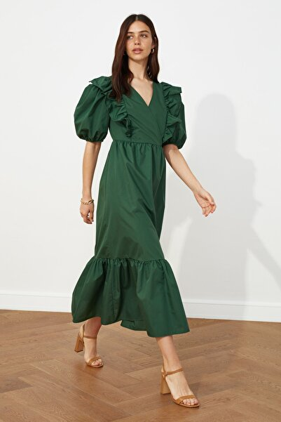 TRENDYOLMİLLA Yeşil Balon Kollu Volanlı Elbise TWOSS21EL0708