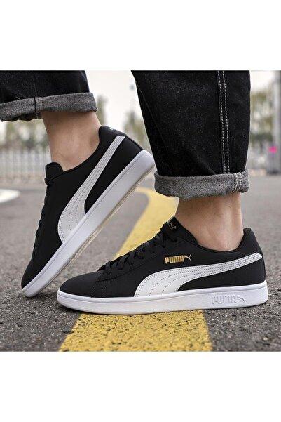 Puma Smash V2 Buck 365160 23 Kadın Erkek Sneaker Ayakkabı Siyah Beyaz 36-45