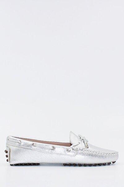 West To West Kadın Loafer Ayakkabı Hakiki Deri Gümüş