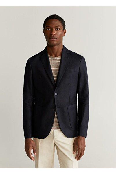 MANGO Man Erkek Siyah %100 Keten Dar Kesim Blazer Ceket 67005910