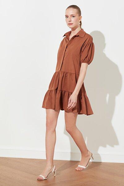 TRENDYOLMİLLA Kiremit Volanlı Gömlek Yaka Elbise TWOSS21EL0330