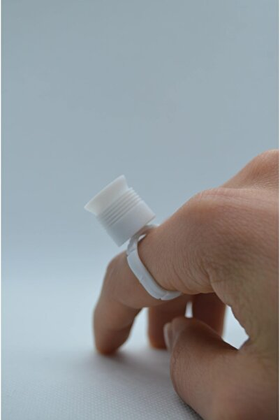 Bmx Beyaz Kalıcı Makyaj & Dövme Microblading İçin Süngerli Yüzük Boya Kabı 10 Adet